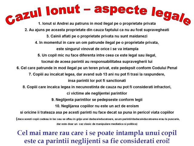 Cazul Ionut - aspecte legale