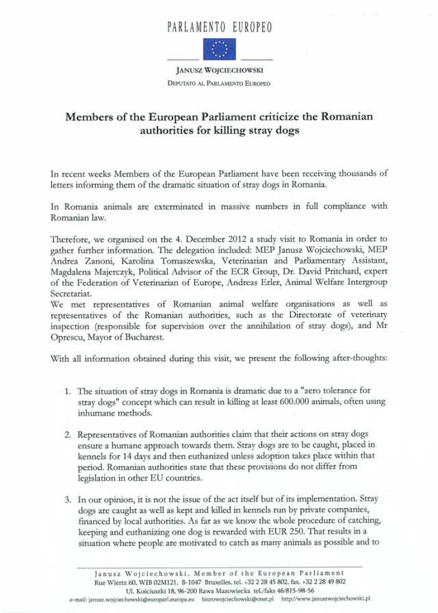 Letter MEPs Janusz Wojciechowski, Andrea Zanoni about visit 4 December in Romania (1)